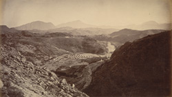 General view from Ali Masjid, looking back towards Peshawur, showing the whole of the Khyber & country operated in by troops.